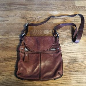 Fossil Brown Leather Crossbody Messenger Purse
